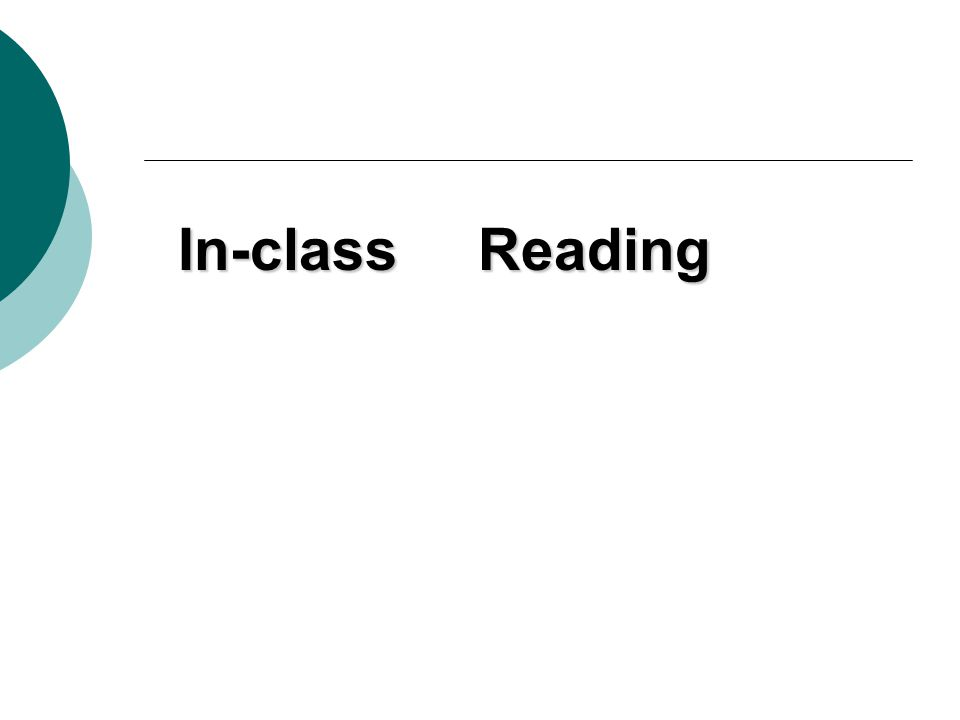 In-class Reading