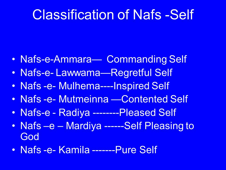 Classification of Nafs -Self Nafs-e-Ammara— Commanding Self Nafs-e- Lawwama—Regretful Self Nafs -e- Mulhema----Inspired Self Nafs -e- Mutmeinna —Contented Self Nafs-e - Radiya --------Pleased Self Nafs –e – Mardiya ------Self Pleasing to God Nafs -e- Kamila -------Pure Self