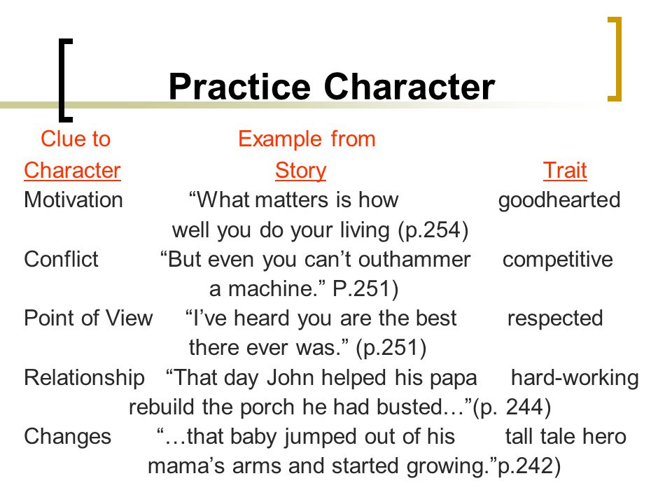 Practice Character Clue to Example from Character Story Trait Motivation What matters is how goodhearted well you do your living (p.254) Conflict But even you can't outhammer competitive a machine. P.251) Point of View I've heard you are the best respected there ever was. (p.251) Relationship That day John helped his papa hard-working rebuild the porch he had busted… (p.