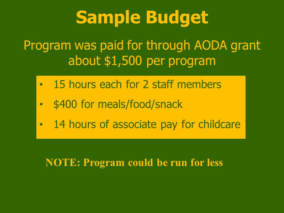 Sample Budget Program was paid for through AODA grant about $1,500 per program 15 hours each for 2 staff members $400 for meals/food/snack 14 hours of associate pay for childcare NOTE: Program could be run for less