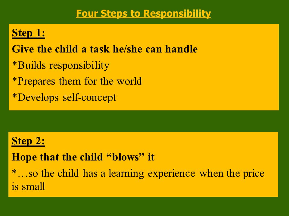 Step 4: Give the same task again *Sends implied message: You're smart and I know you can learn from your mistakes Step 3: Let equal parts of empathy and consequence do the teaching *Empathy allows learning to occur, builds relationships, stimulates thinking *Consequences allow children to own the problem Four Steps to Responsibility