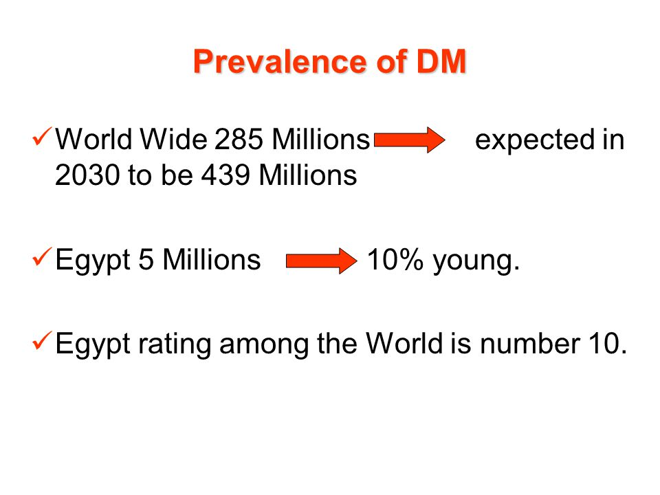 Prevalence of DM World Wide 285 Millions expected in 2030 to be 439 Millions Egypt 5 Millions 10% young. Egypt rating among the World is number 10.