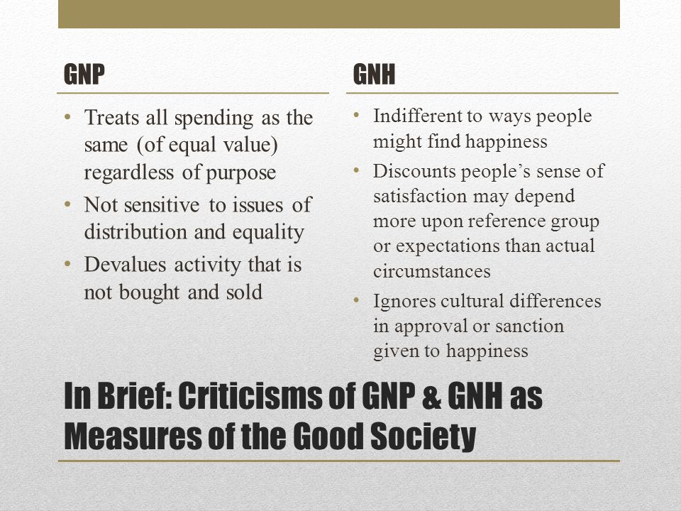 In Brief: Criticisms of GNP & GNH as Measures of the Good Society GNP Treats all spending as the same (of equal value) regardless of purpose Not sensitive to issues of distribution and equality Devalues activity that is not bought and sold GNH Indifferent to ways people might find happiness Discounts people's sense of satisfaction may depend more upon reference group or expectations than actual circumstances Ignores cultural differences in approval or sanction given to happiness