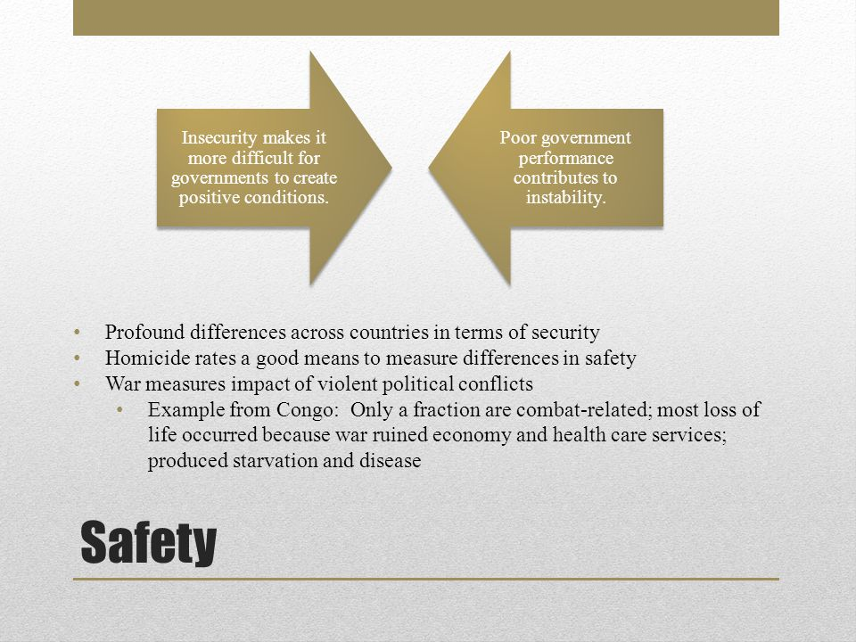 Safety Insecurity makes it more difficult for governments to create positive conditions.
