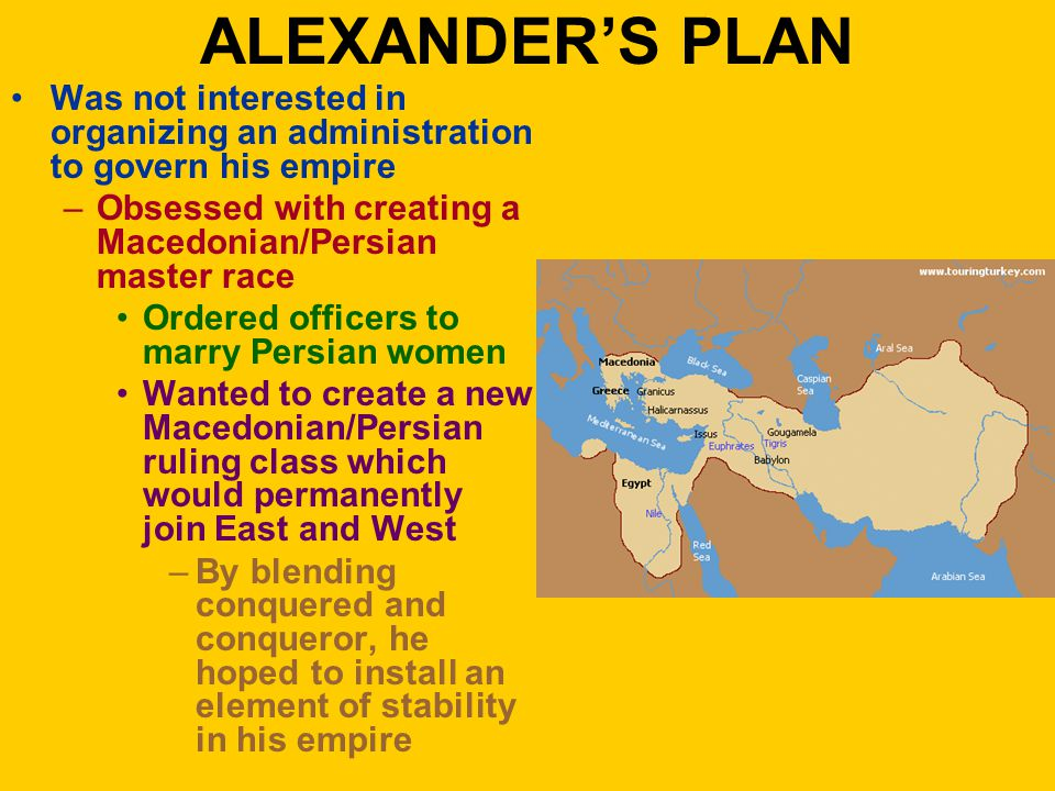 ALEXANDER'S PLAN Was not interested in organizing an administration to govern his empire –Obsessed with creating a Macedonian/Persian master race Ordered officers to marry Persian women Wanted to create a new Macedonian/Persian ruling class which would permanently join East and West –By blending conquered and conqueror, he hoped to install an element of stability in his empire