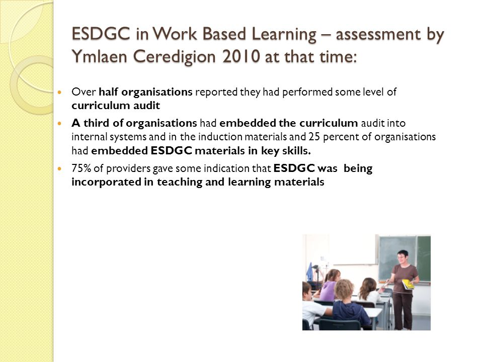 ESDGC in Work Based Learning – assessment by Ymlaen Ceredigion 2010 at that time: Over half organisations reported they had performed some level of curriculum audit A third of organisations had embedded the curriculum audit into internal systems and in the induction materials and 25 percent of organisations had embedded ESDGC materials in key skills.