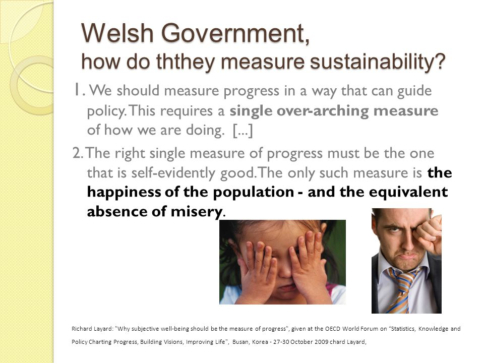 Welsh Government, how do ththey measure sustainability.