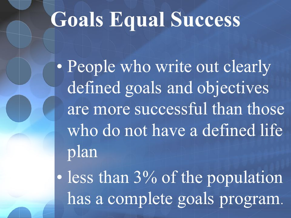 Goals Equal Success Not having goals is similar to sailing a ship across the Atlantic without a map.
