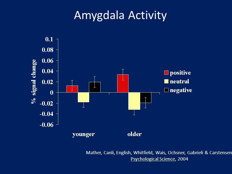 Mather, Canli, English, Whitfield, Wais, Ochsner, Gabrieli & Carstensen, Psychological Science, 2004 Amygdala Activity