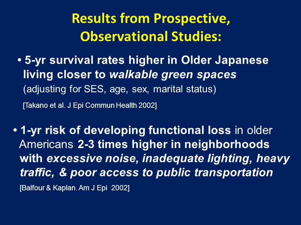 Results from Prospective, Observational Studies: 5-yr survival rates higher in Older Japanese living closer to walkable green spaces (adjusting for SE
