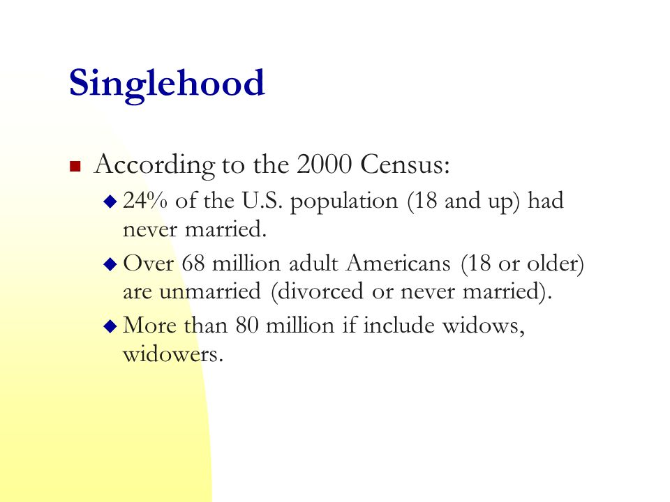 Singlehood According to the 2000 Census:  24% of the U.S.