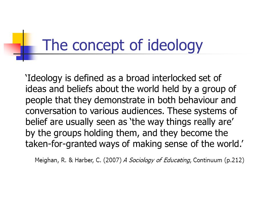 The concept of ideology 'Ideology is defined as a broad interlocked set of ideas and beliefs about the world held by a group of people that they demonstrate in both behaviour and conversation to various audiences.