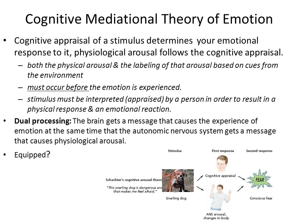 Cognitive Mediational Theory of Emotion Cognitive appraisal of a stimulus determines your emotional response to it, physiological arousal follows the