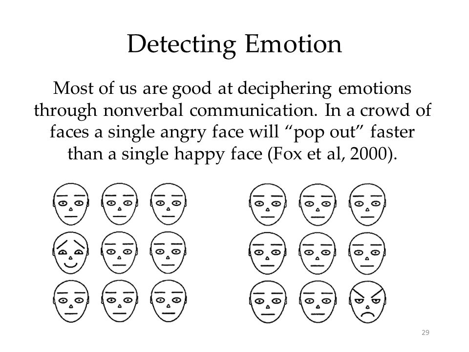 "29 Detecting Emotion Most of us are good at deciphering emotions through nonverbal communication. In a crowd of faces a single angry face will ""pop ou"