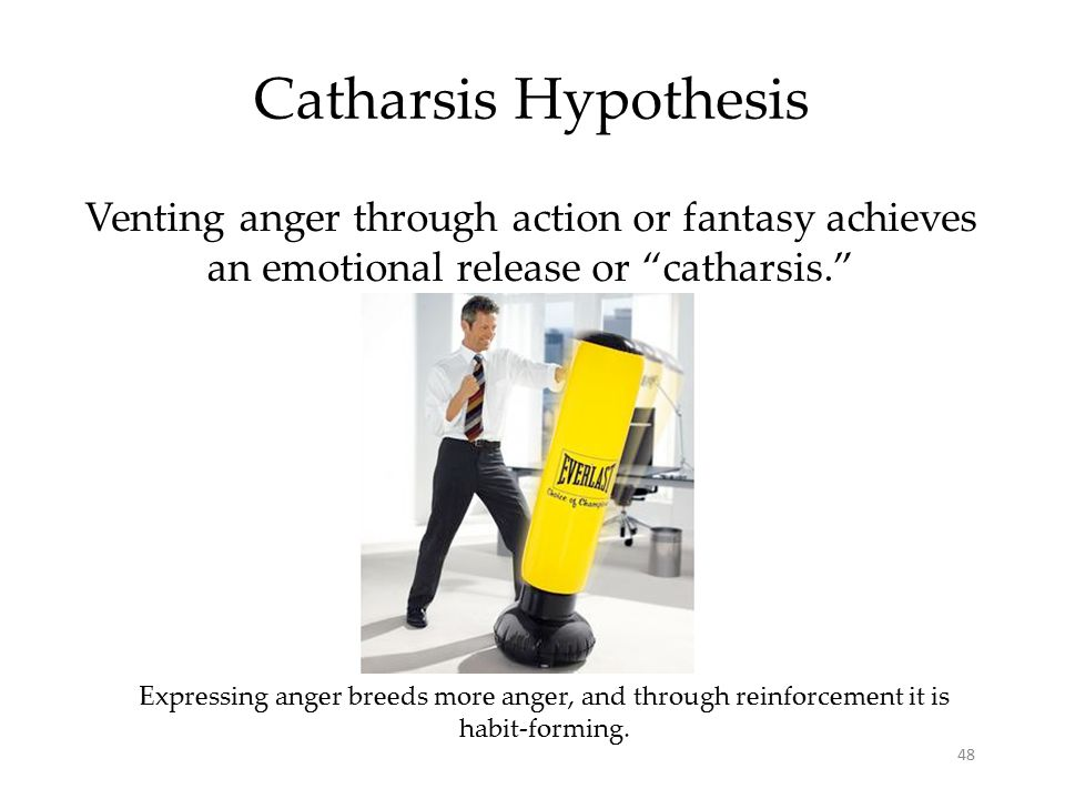 "48 Catharsis Hypothesis Venting anger through action or fantasy achieves an emotional release or ""catharsis."" Expressing anger breeds more anger, and"