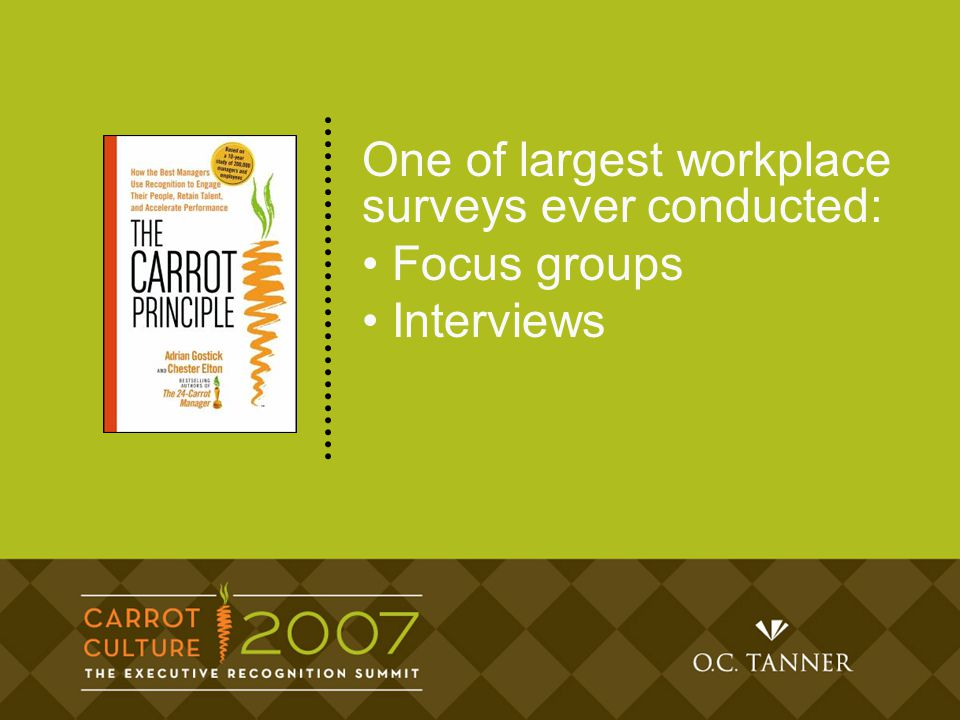 One of largest workplace surveys ever conducted: Focus groups Interviews