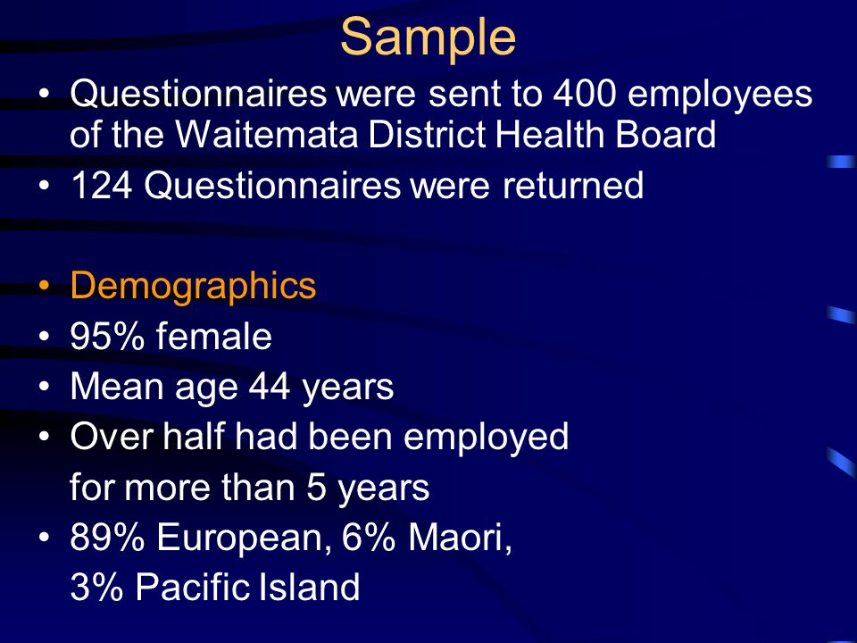 Sample Questionnaires were sent to 400 employees of the Waitemata District Health Board 124 Questionnaires were returned Demographics 95% female Mean age 44 years Over half had been employed for more than 5 years 89% European, 6% Maori, 3% Pacific Island