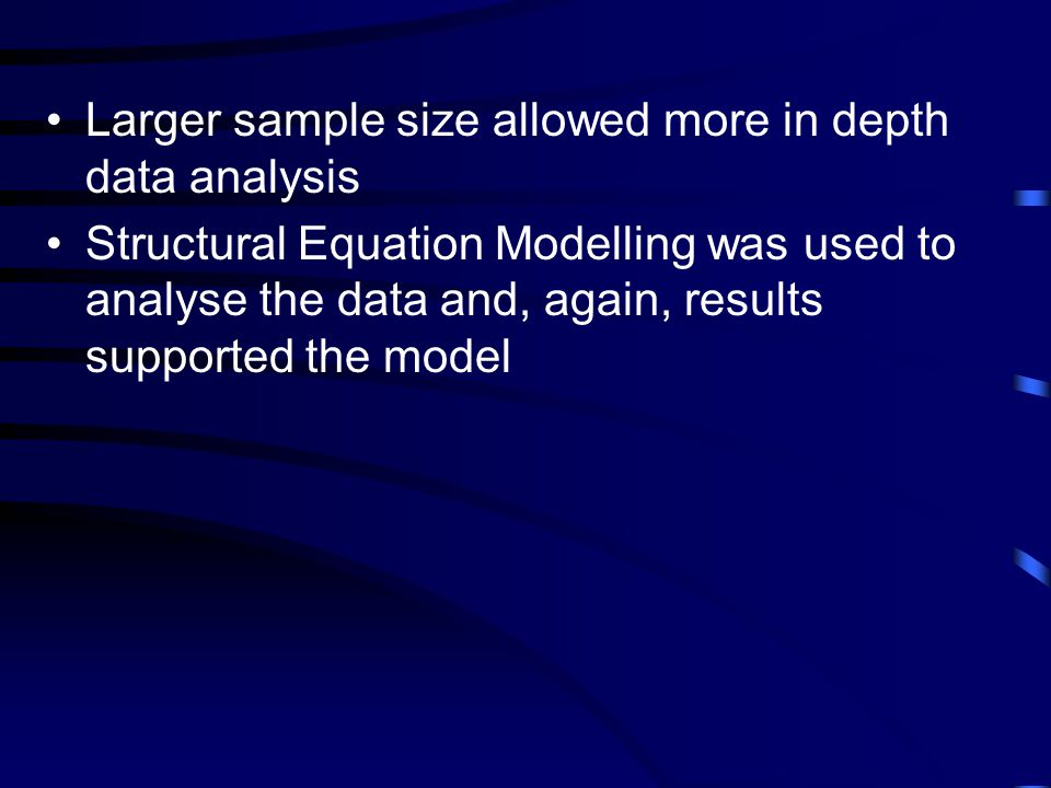 Larger sample size allowed more in depth data analysis Structural Equation Modelling was used to analyse the data and, again, results supported the model