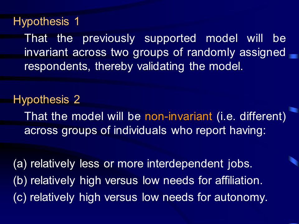 Hypothesis 1 That the previously supported model will be invariant across two groups of randomly assigned respondents, thereby validating the model.