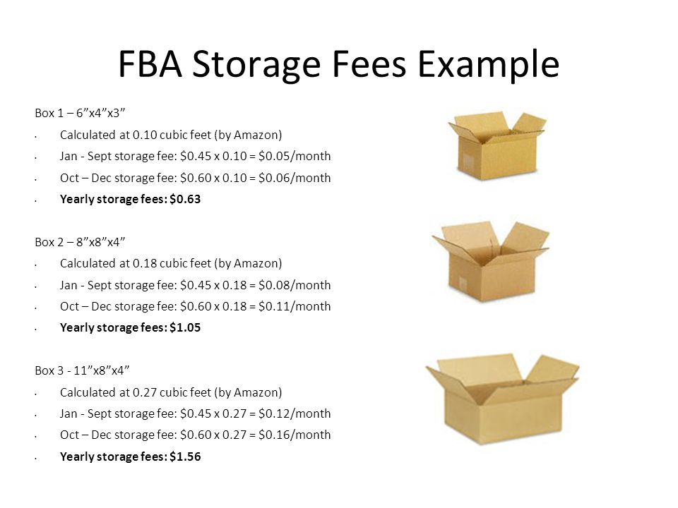 "FBA Storage Fees Example Box 1 – 6""x4""x3"" Calculated at 0.10 cubic feet (by Amazon) Jan - Sept storage fee: $0.45 x 0.10 = $0.05/month Oct – Dec stora"