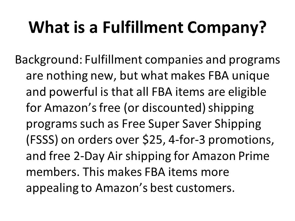 FBA Can Be Described As a Win-Win-Win Win #1.Higher prices, higher margins, higher payouts Win #2.