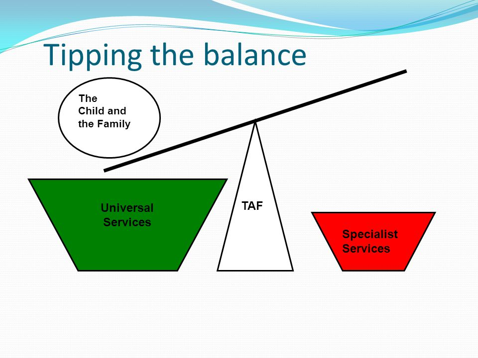 Tipping the balance TAF Specialist Services Universal Services The Child and the Family
