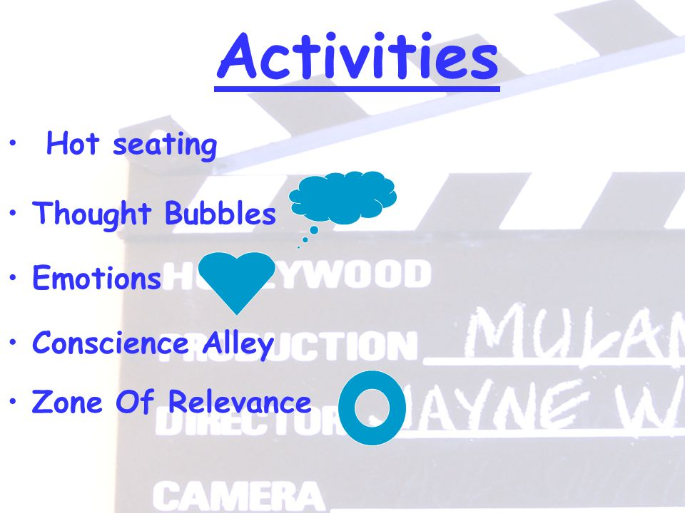 Activities Hot seating Thought Bubbles Conscience Alley Zone Of Relevance Emotions