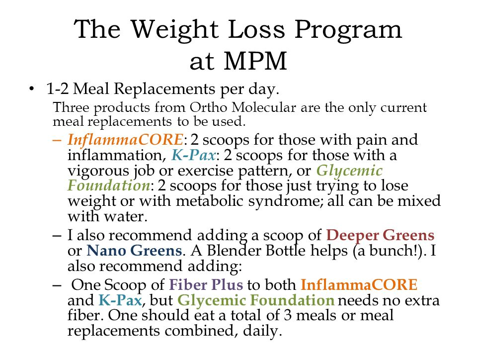 1-2 Meal Replacements per day.