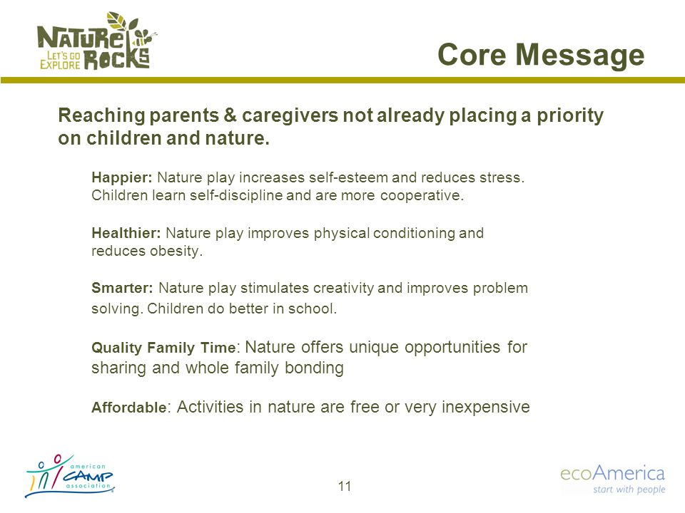 Core Message Happier: Nature play increases self-esteem and reduces stress.