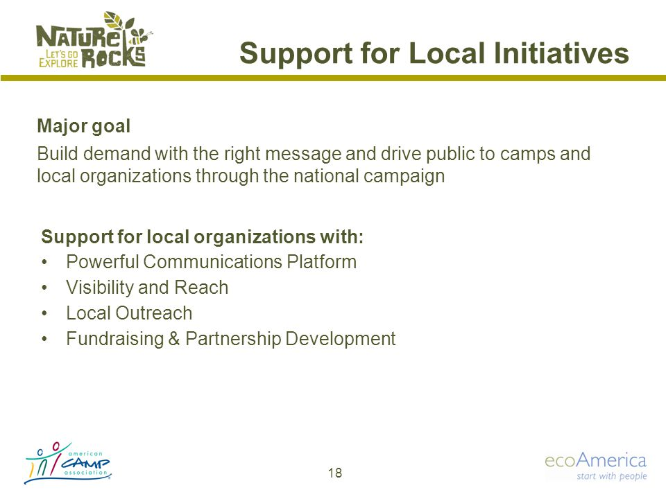Support for Local Initiatives Support for local organizations with: Powerful Communications Platform Visibility and Reach Local Outreach Fundraising & Partnership Development 18 Major goal Build demand with the right message and drive public to camps and local organizations through the national campaign