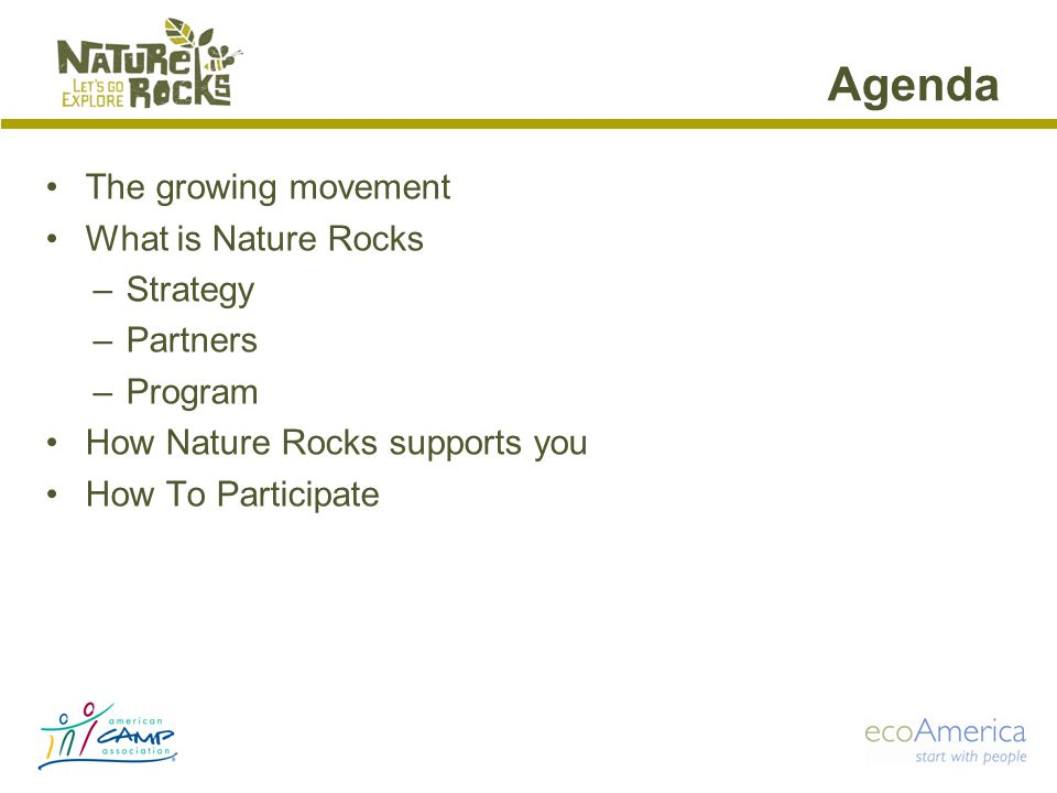 Agenda The growing movement What is Nature Rocks –Strategy –Partners –Program How Nature Rocks supports you How To Participate