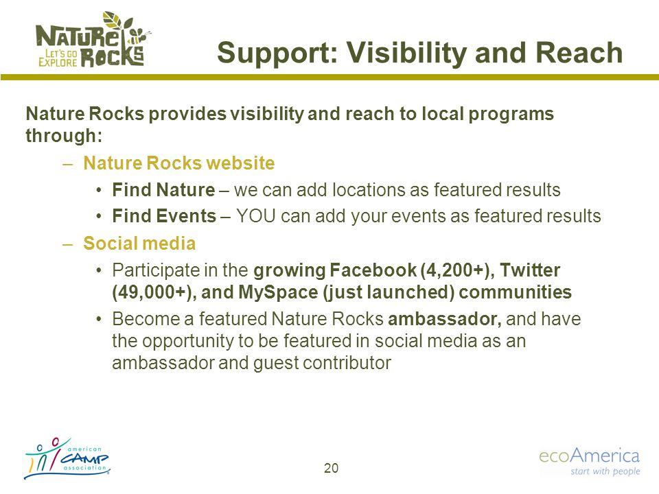 Support: Visibility and Reach Nature Rocks provides visibility and reach to local programs through: –Nature Rocks website Find Nature – we can add locations as featured results Find Events – YOU can add your events as featured results –Social media Participate in the growing Facebook (4,200+), Twitter (49,000+), and MySpace (just launched) communities Become a featured Nature Rocks ambassador, and have the opportunity to be featured in social media as an ambassador and guest contributor 20