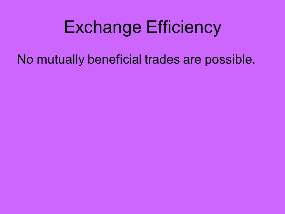 Exchange Efficiency No mutually beneficial trades are possible.