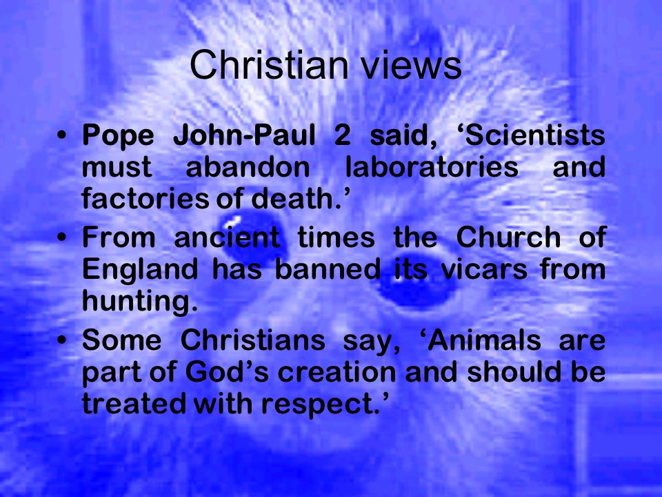 Christian views Pope John-Paul 2 said, 'Scientists must abandon laboratories and factories of death.' From ancient times the Church of England has banned its vicars from hunting.