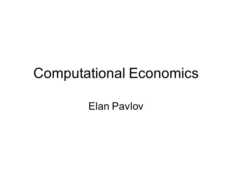 Computational Economics Elan Pavlov