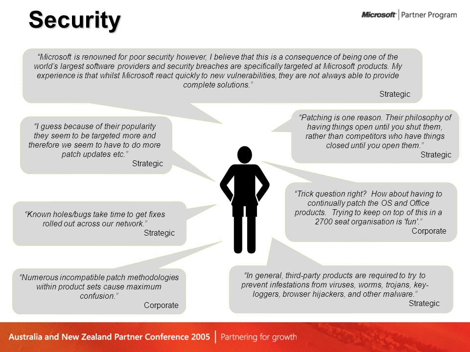 Security In general, third-party products are required to try to prevent infestations from viruses, worms, trojans, key- loggers, browser hijackers, and other malware. Strategic Microsoft is renowned for poor security however, I believe that this is a consequence of being one of the world's largest software providers and security breaches are specifically targeted at Microsoft products.