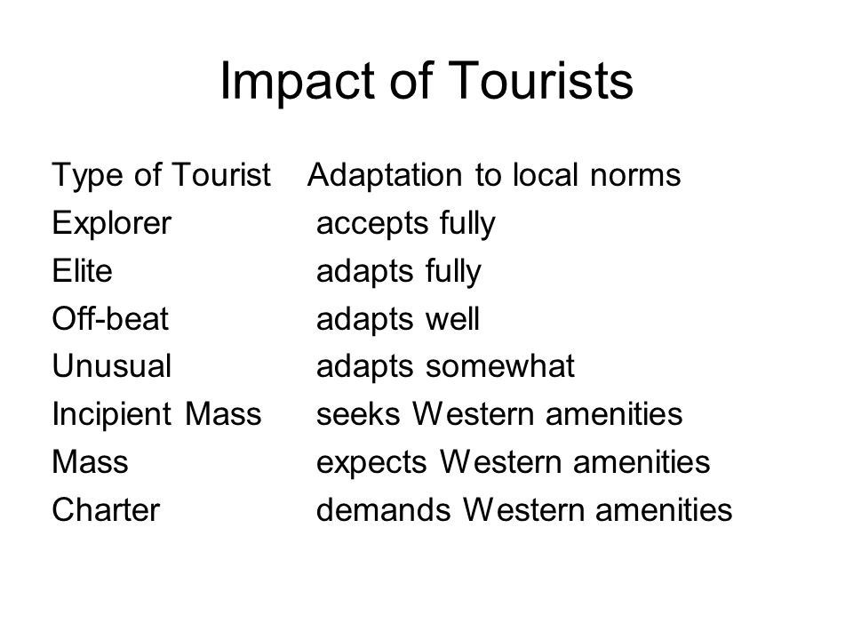 Tourist, attractions, destinations Tourist--temporarily leisured person who voluntarily visits a place away from home for the purpose of experiencing a change.
