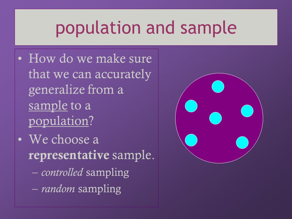population and sample How do we make sure that we can accurately generalize from a sample to a population? We choose a representative sample. – contro