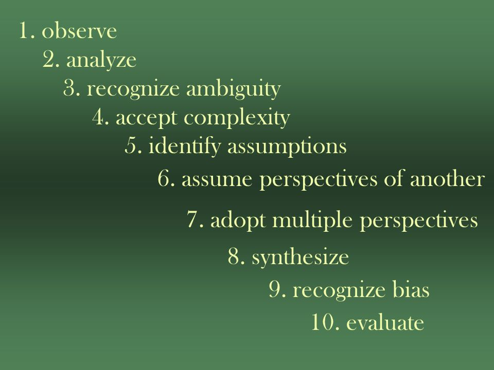 1. observe 2. analyze 3. recognize ambiguity 4.