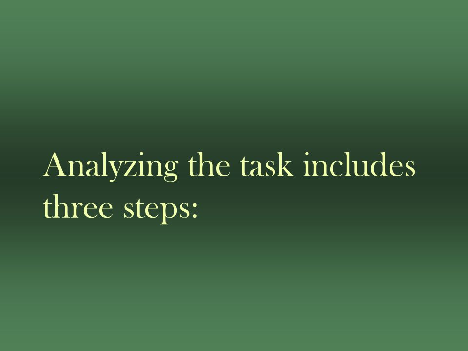 Analyzing the task includes three steps: