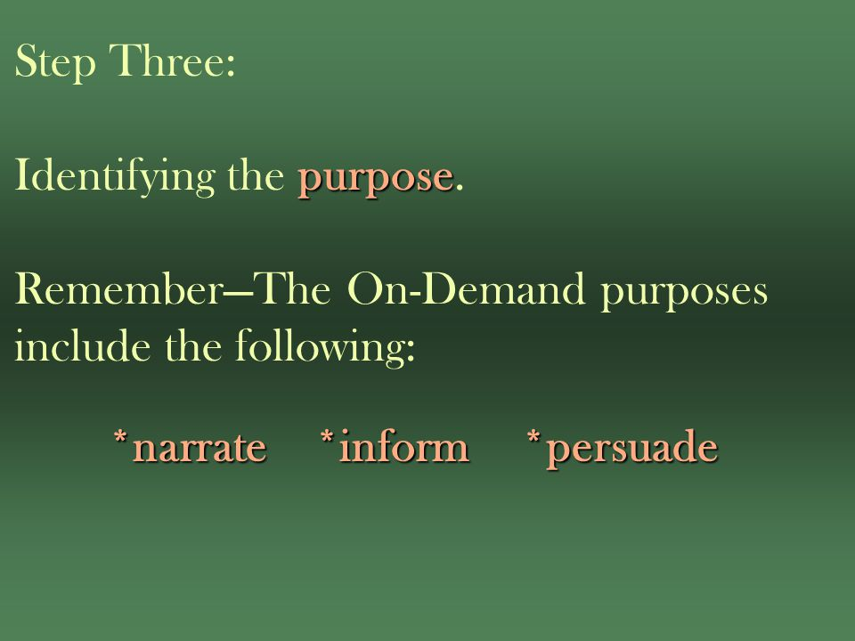 purpose Step Three: Identifying the purpose.