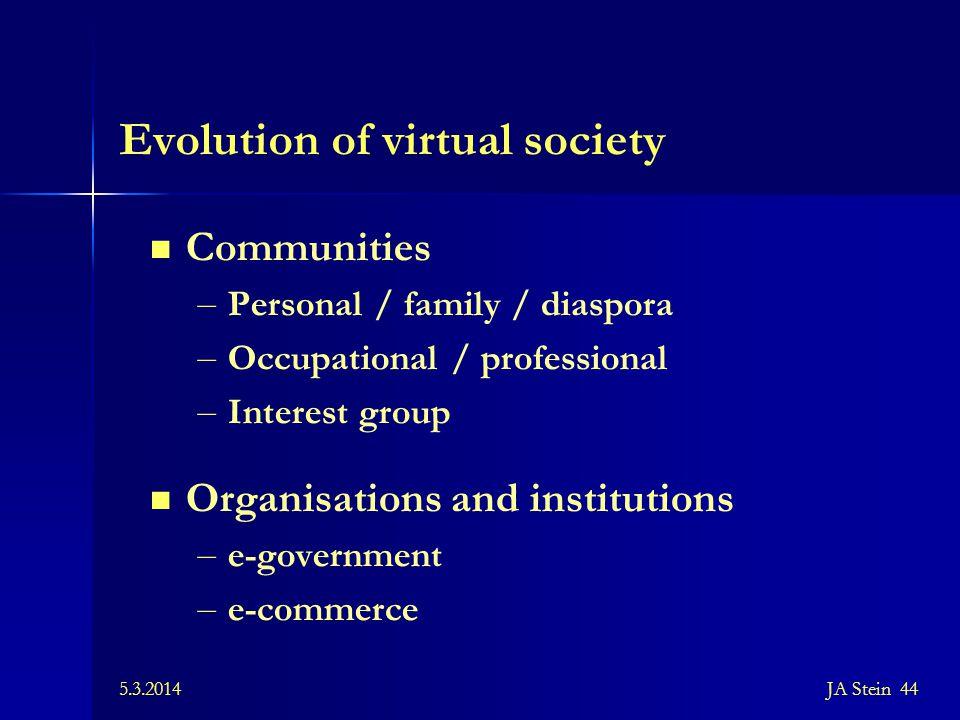5.3.2014JA Stein 44 Evolution of virtual society Communities – Personal / family / diaspora – Occupational / professional – Interest group Organisatio