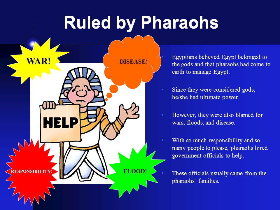 Ruled by Pharaohs Egyptians believed Egypt belonged to the gods and that pharaohs had come to earth to manage Egypt. Since they were considered gods,