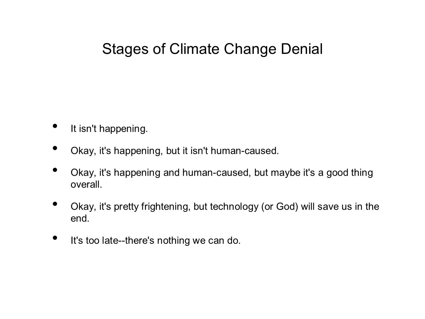 Stages of Climate Change Denial It isn t happening.