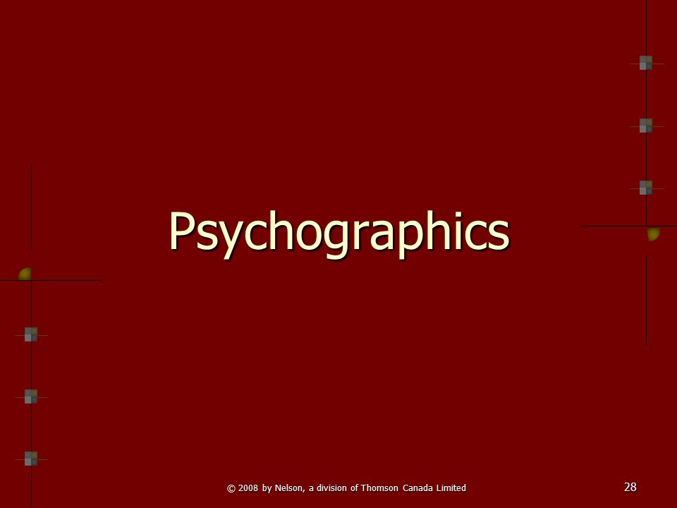 © 2008 by Nelson, a division of Thomson Canada Limited 28 PsychographicsPsychographics