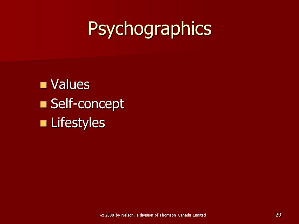 29 Psychographics Values Values Self-concept Self-concept Lifestyles Lifestyles