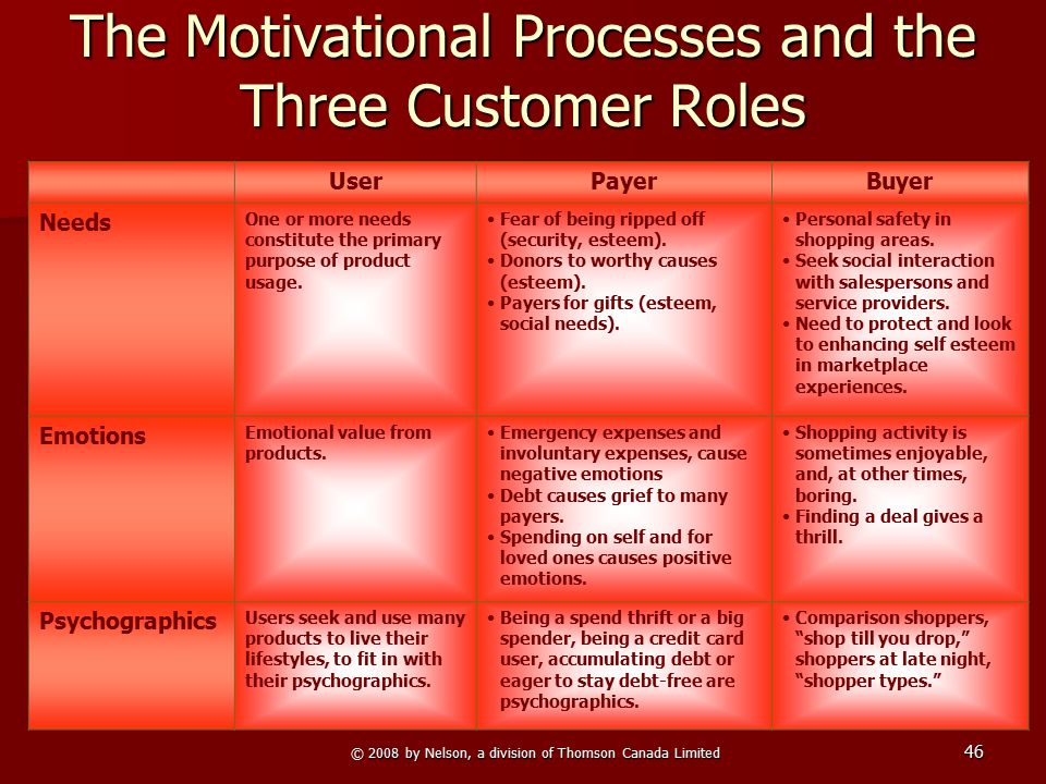 © 2008 by Nelson, a division of Thomson Canada Limited 46 The Motivational Processes and the Three Customer Roles UserPayerBuyer Needs One or more nee