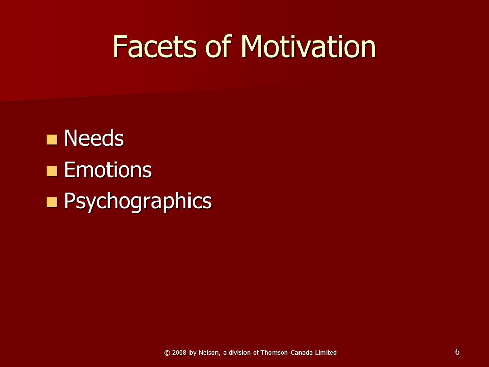 © 2008 by Nelson, a division of Thomson Canada Limited 6 Facets of Motivation Needs Needs Emotions Emotions Psychographics Psychographics
