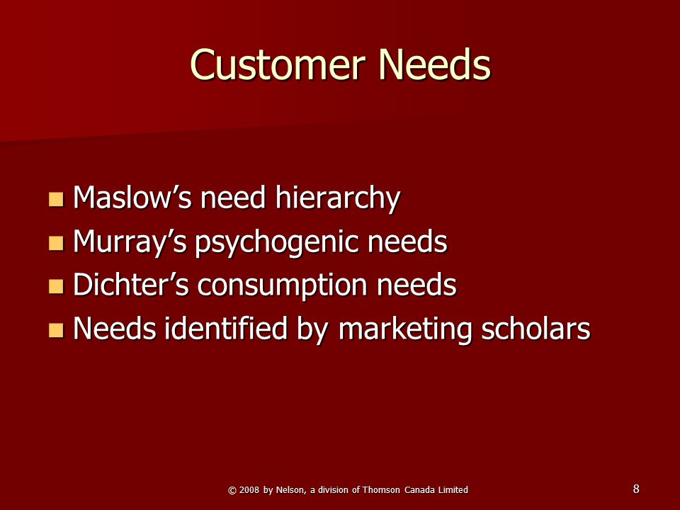 8 Customer Needs Maslow's need hierarchy Maslow's need hierarchy Murray's psychogenic needs Murray's psychogenic needs Dichter's consumption needs Dic