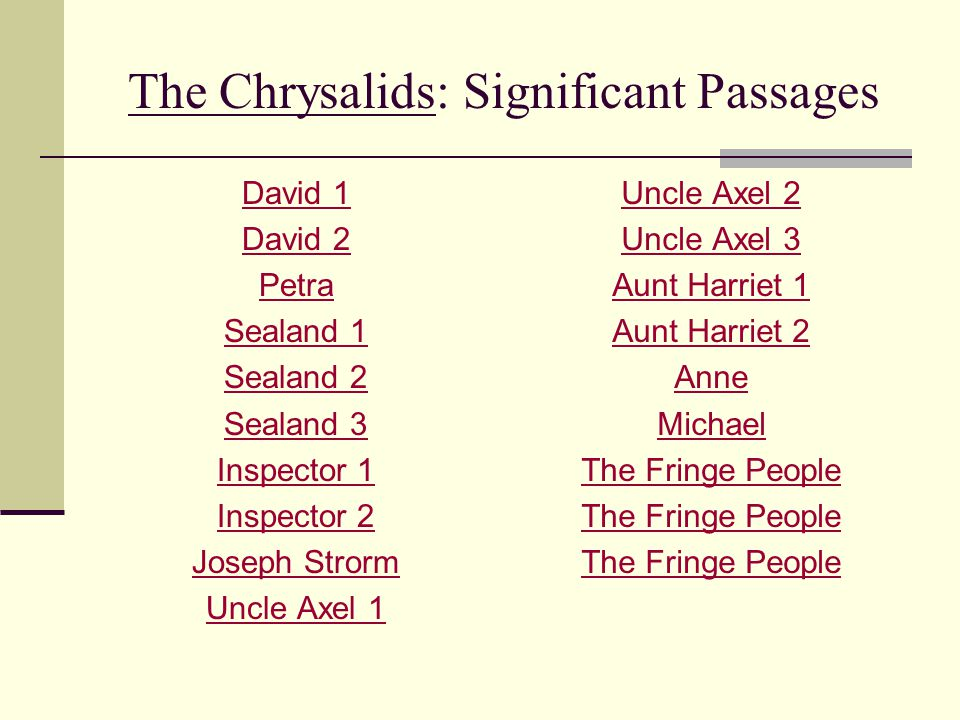 The Chrysalids: Significant Passages David 1 David 2 Petra Sealand 1 Sealand 2 Sealand 3 Inspector 1 Inspector 2 Joseph Strorm Uncle Axel 1 Uncle Axel
